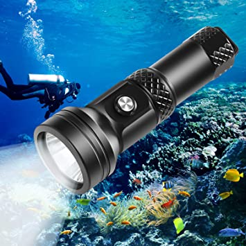 Diving Flashlight,Waterproof LED Diving Flashlight UnderWater 50m Depth Bright LED Lighting Lamp Dive Lights Torch for Expert Diving at Night Snorkeling Caving Fishing