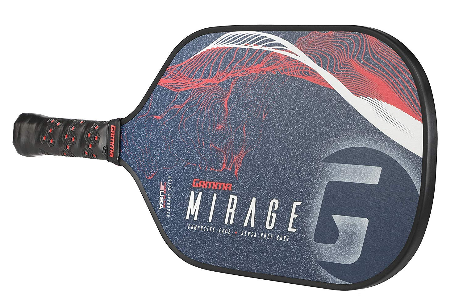 GAMMA Mirage Composite Pickleball Paddle: Pickle Ball Paddles for Indoor & Outdoor Play - USAPA Approved Racquet for Adults & Kids - Red/White/Blue by Gamma (Image #5)