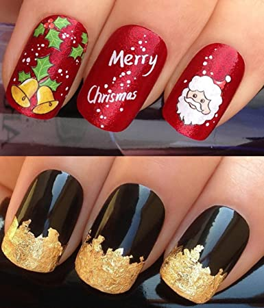 Amazon Com Christmas Nail Art Set Decals Water Transfers Stickers