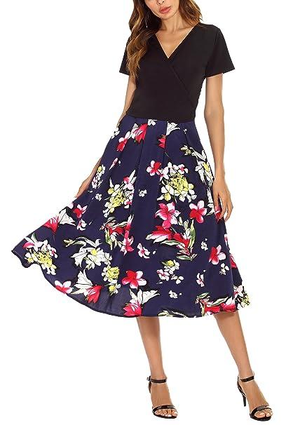 Urban GoCo Mujeres Vintage Contraste Vestido Wrap Floral Fiesta Dress Vestir (Medium, 1 Azul