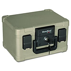SureSeal by FireKing SS1021/2 Hour Fireproof/Waterproof Safe Chest, Fits #10 Envelopes, 0.15 CU FT Storage Capacity,Taupe