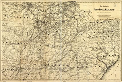 Amazoncom 1870 Railroad Map Of Southeastern Us Port Royal - Map-of-the-southeastern-us