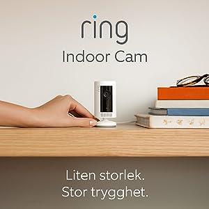 Ring Indoor Cam   Kompakt plug-in HD-säkerhetskamera med tvåvägskommunikation   30 dagars kostnadsfri provperiod på Ring Protect Plan ingår   Vit