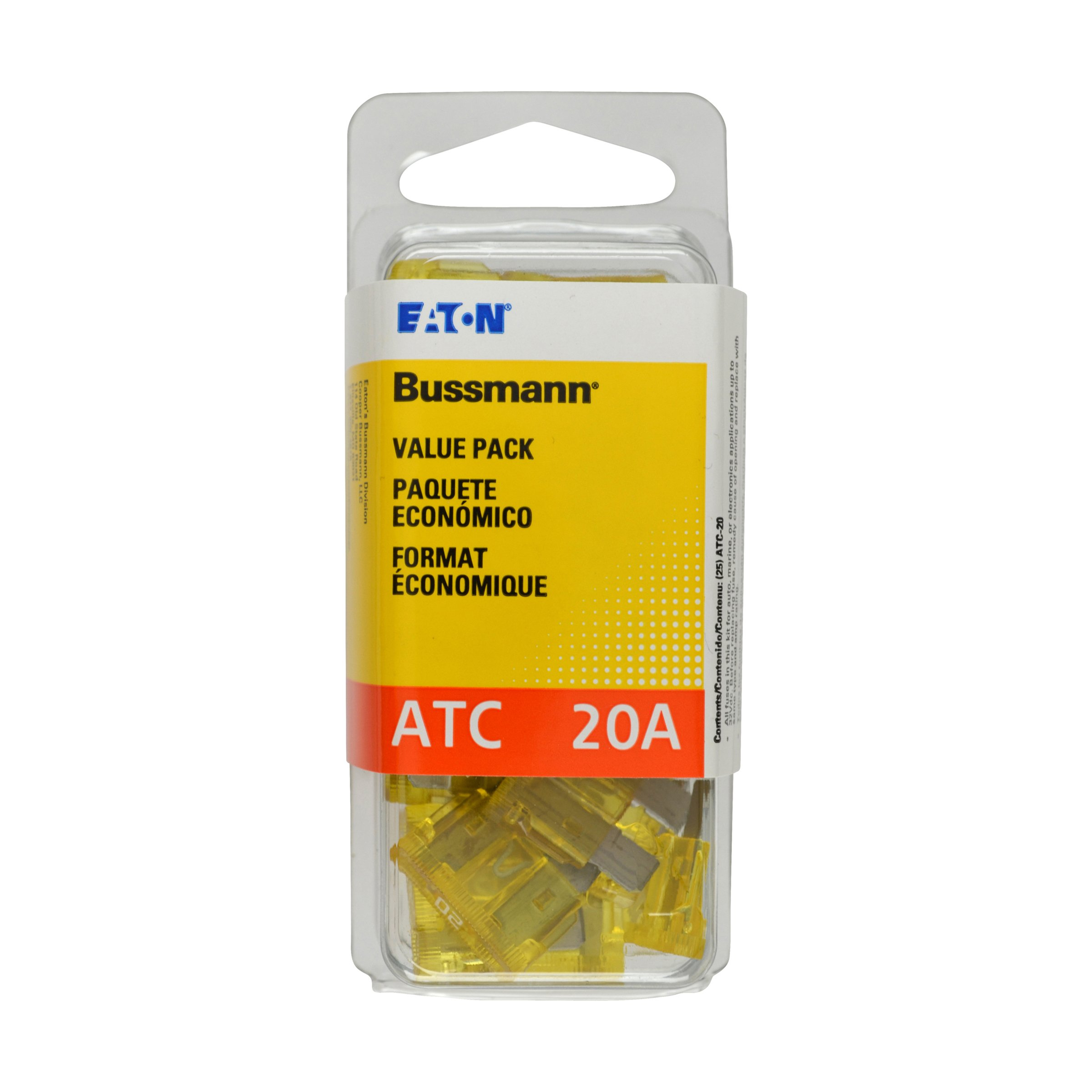 Bussmann (VP/ATC-20-RP) Yellow 20 Amp 32V Fast Acting ATC Blade Fuse, (Pack of 25)