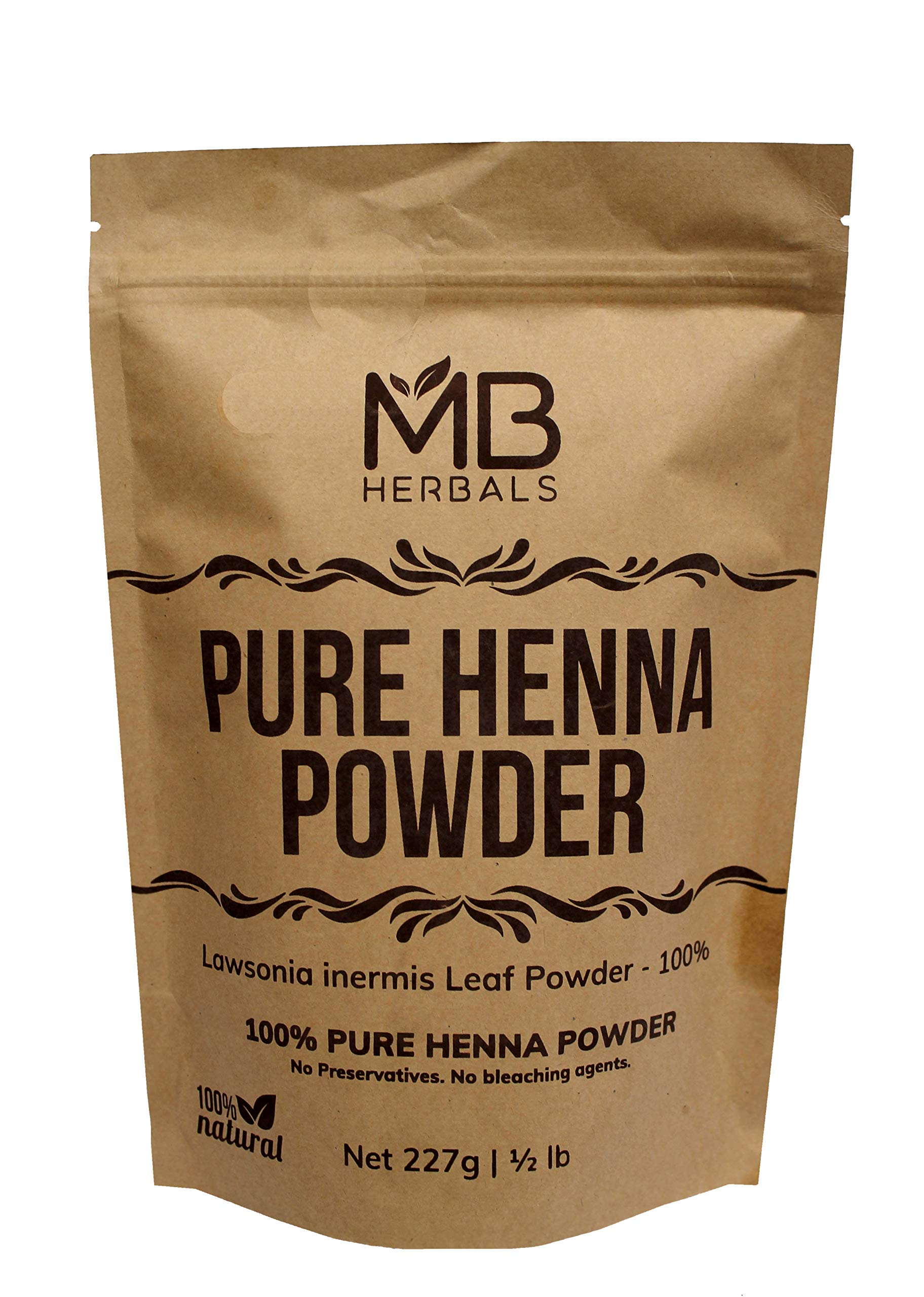 MB Herbals Henna Powder 227 Gram | 8 oz / 0.5 lb | For Natural Orange-Red Hair Color | Triple Sifted | Raw | Non-Radiated |100% Pure Rajasthan Henna from Marwar region | Rajasthani Henna