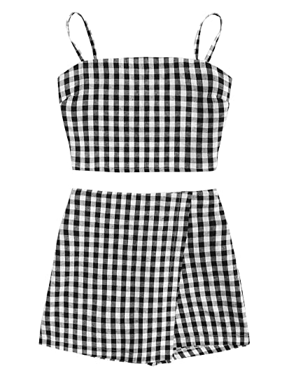 ea6335172e Amazon.com: SheIn Women's 2 Piece Outfit Summer Checkered Knot Cami Crop  Top and Shorts Set: Clothing