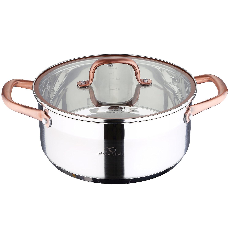 Bergner Infinity Chef Cacerola de inducción con Tapa de Vidrio, Acero Inoxidable, Plateado, 24 cm: Amazon.es: Hogar