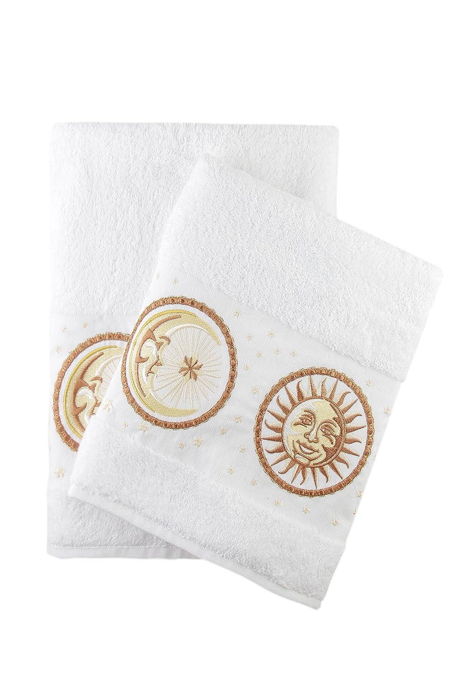 Amazon.com: Luxury Sun & Moon Embroidered White Bath and Hand Towel ...