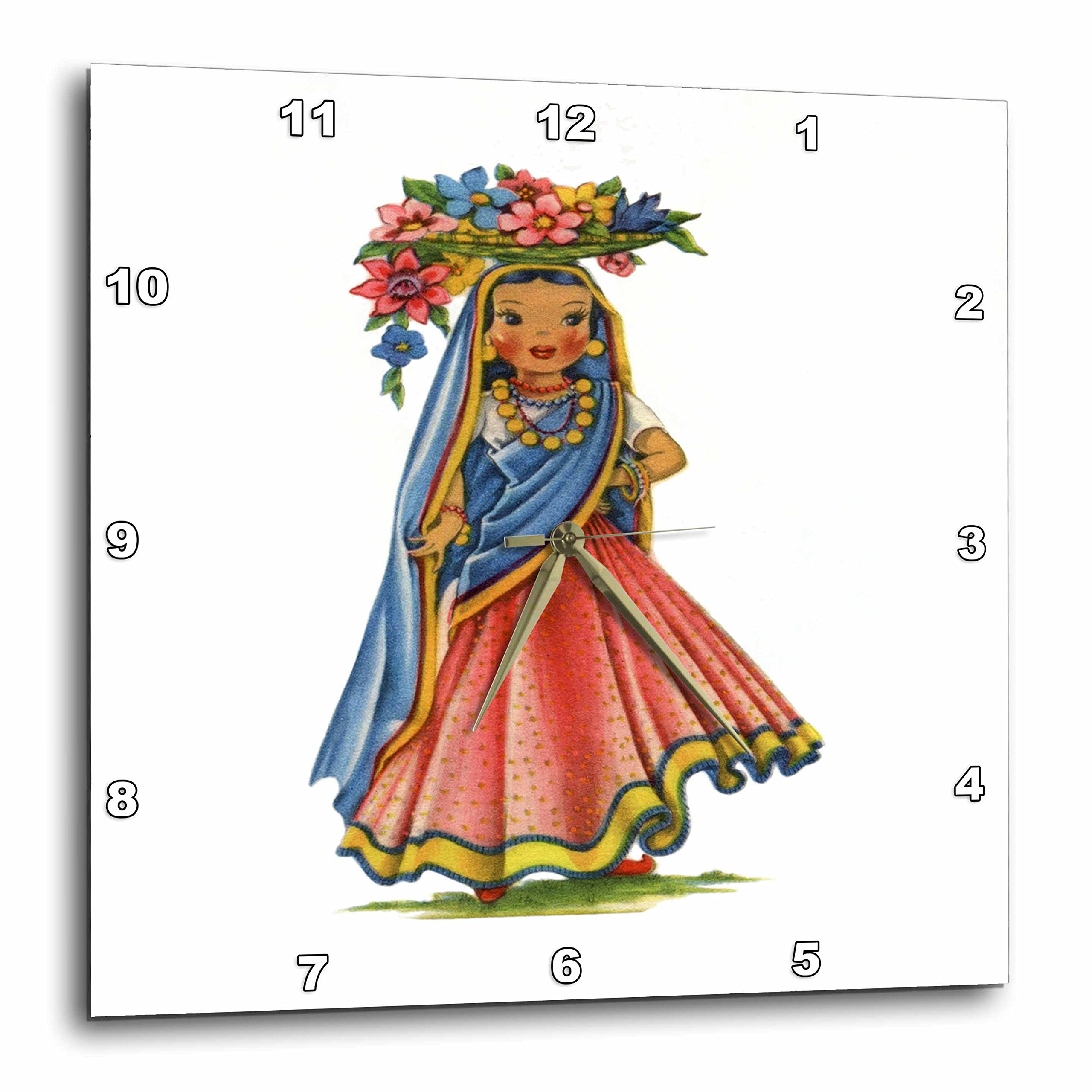 3dRose Print of Retro Doll From India - Wall Clock, 10 by 10-Inch (dpp_204605_1)