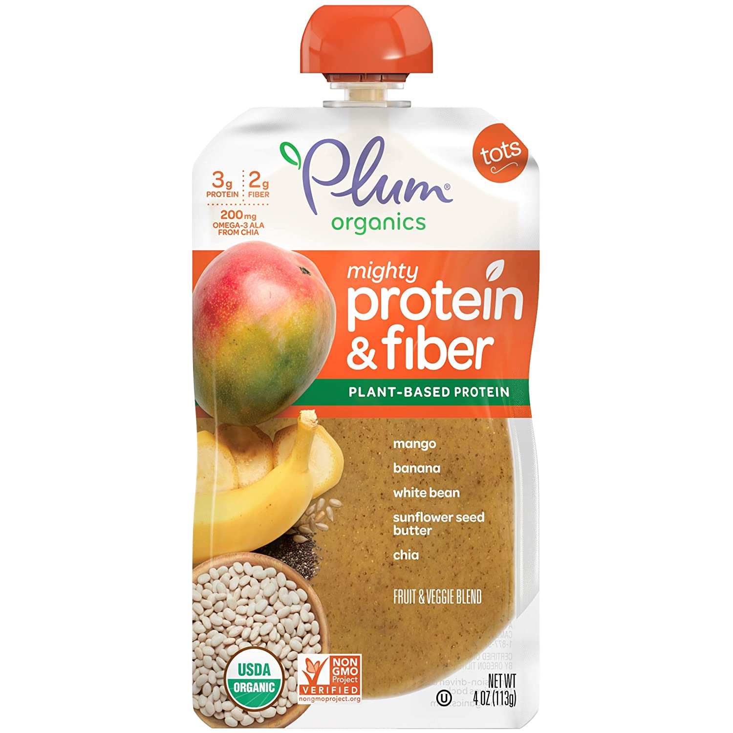 Plum Organics Mighty Protein & Fiber, Organic Toddler Food, Mango, Banana, White Bean, Sunflower Seed Butter & Chia, 4 Ounce, Pack of 12