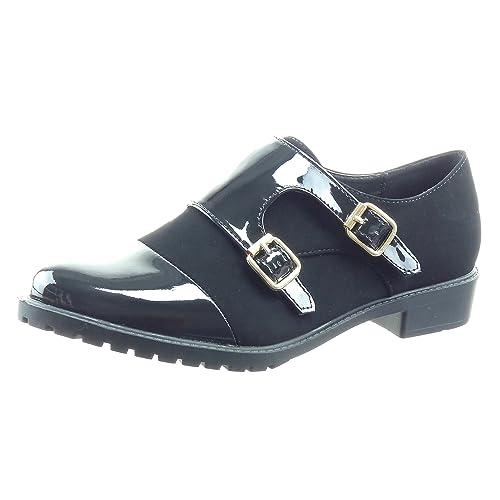 Sopily - Zapatillas de Moda Mocasines bimaterial Tobillo mujer patentes Talón Tacón ancho 3 CM - Negro WLD-8-L01-1 T 41: Amazon.es: Zapatos y complementos