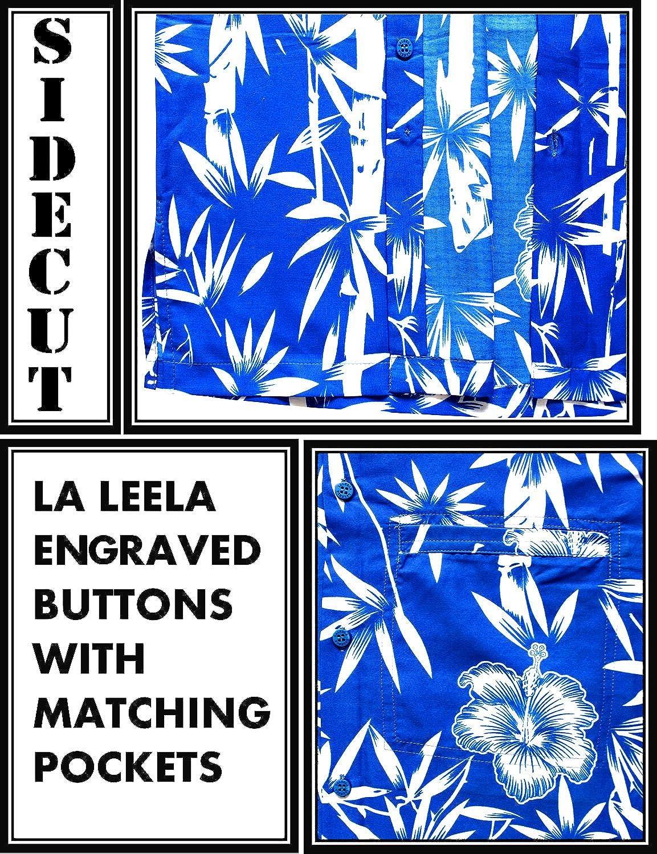 LA LEELA Mens Relaxed Hawaiian Shirt Big and Tall Short Sleeve Shirt Printed E