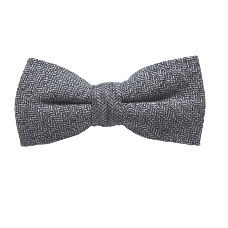 Silver Grey Herringbone Bow Tie