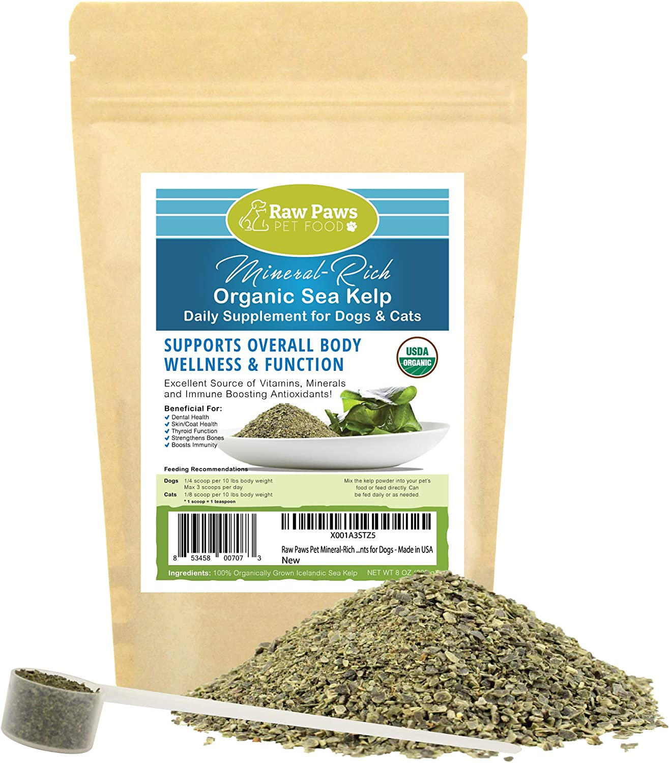 Raw Paws Pet Organic Sea Kelp for Dogs & Cats, 8-oz Seaweed Powder - Icelandic Kelp Supplements for Dogs Supports Thyroid Function, Natural Flea Control & Dog Dental Care - Dried Ocean Kelp for Dogs