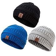 REDESS Baby Kids Winter Warm Fleece Lined Hats, Infant Toddler Children Beanie Knit Cap Girls Boys