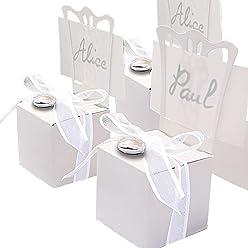 EinsSein 12x Kartonagen Gastgeschenke Hochzeit Tischkartenhalter Stuhl weiß mit Namenskärtchen Hochzeitsmandeln Kartonage Geschenkboxen Geschenkbox Taufe Taufmandeln Kommunion Tischkarten Candybar