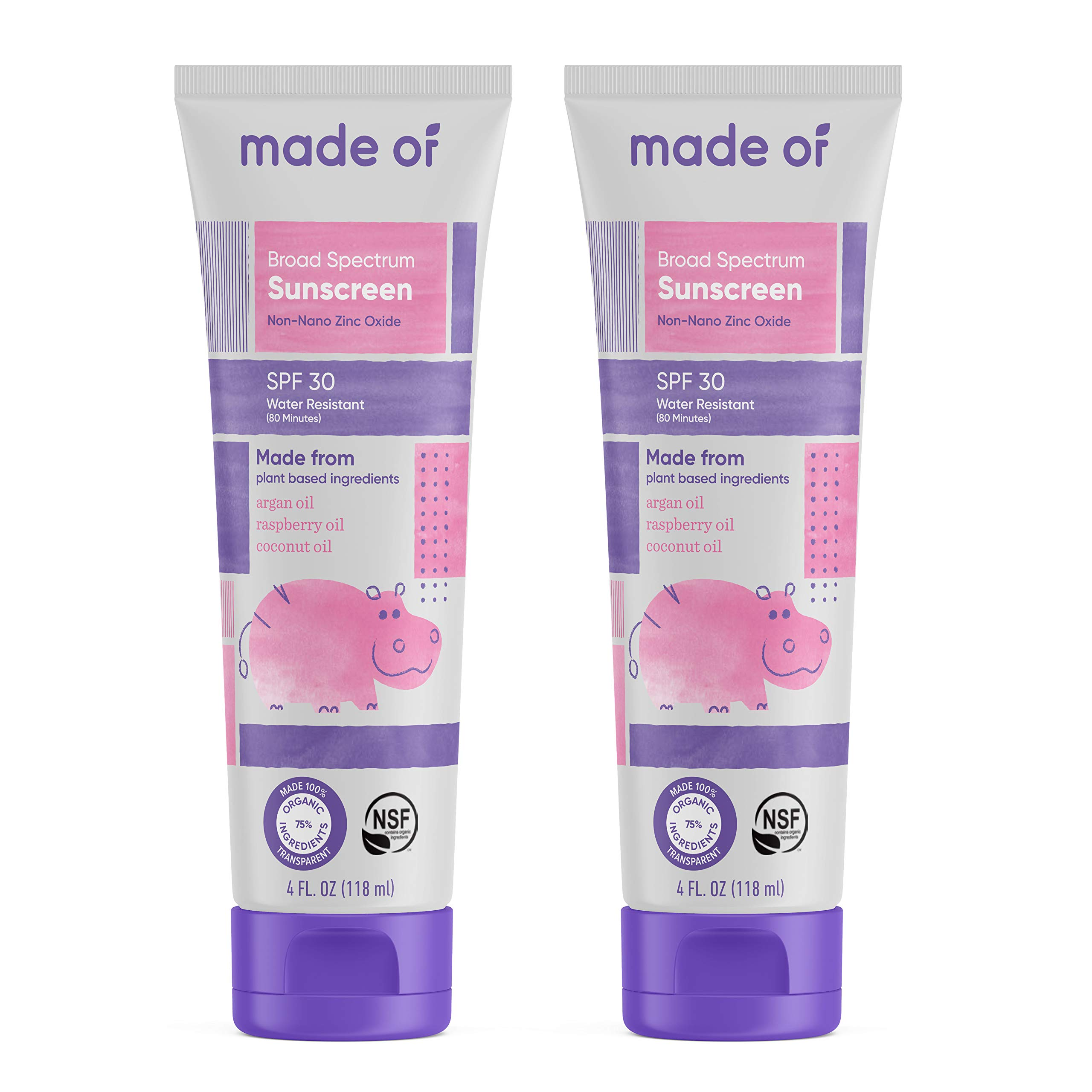 Baby Sunscreen Organic SPF 30 Broad Spectrum by MADE OF - EWG Sunscreen Rated 1 & NSF Organic - Made in USA - 4oz - (Fragrance Free, 2-Pack)
