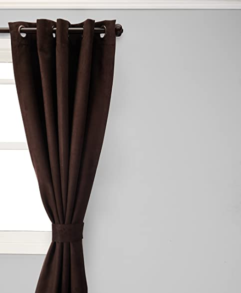 Best Home Fashion Thermal Insulated Faux Suede Blackout Curtains   Antique  Bronze Grommet Top   Chocolate