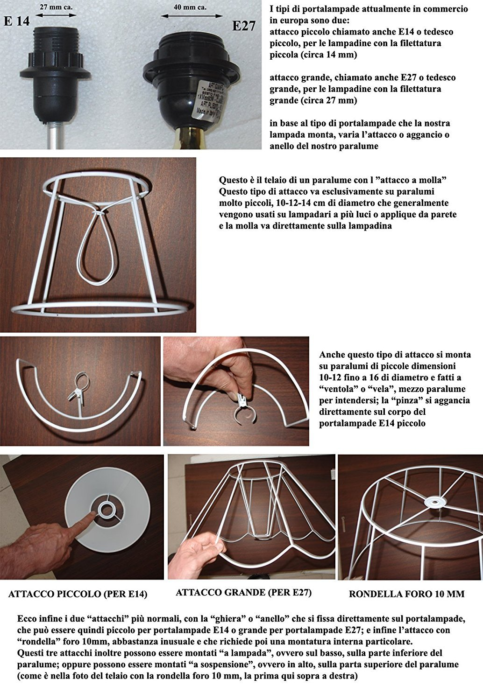 Made in Italy cm 30 Schwarz Prime Lampenschirm aus Schwarz Stoff mit Innen gold eigener Produktion
