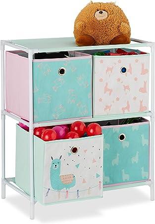 1 St/ück HBT: 87,5 x 86 x 31 cm Relaxdays Kinderregal bunt Spielzeugregal f/ür Jungen /& M/ädchen mit 12 Aufbewahrungsboxen