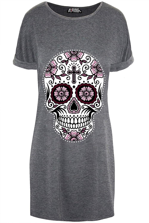 Be Jealous Womens Ladies Halloween Bleeding Vampire Tooth Baggy Tunic Long T-Shirt Dress Top UK Plus Size 8-26