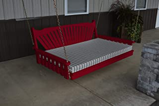 product image for DutchCrafters Amish Pine Wood Fanback Swing Bed (Tractor Red, 4')