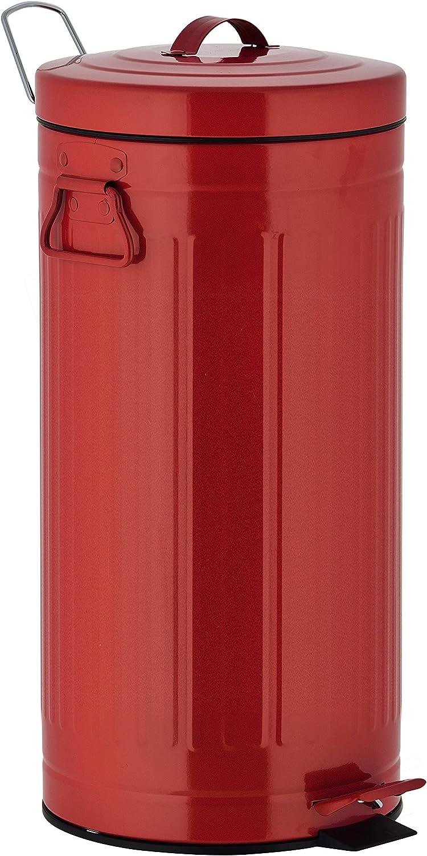Batimex Kitchen Move 927250E Red Retro Estilo Industrial AS-Cubo de Basura con Pedal pl/ástico 30 x 30 x 68,5 cm Metal y ABS