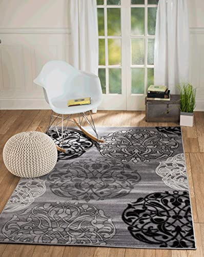 SummitS45 New Grey Black Transitional Area Rug Modern Abstract Rug 5 X7 Actual Size is 4 .10X7 .2