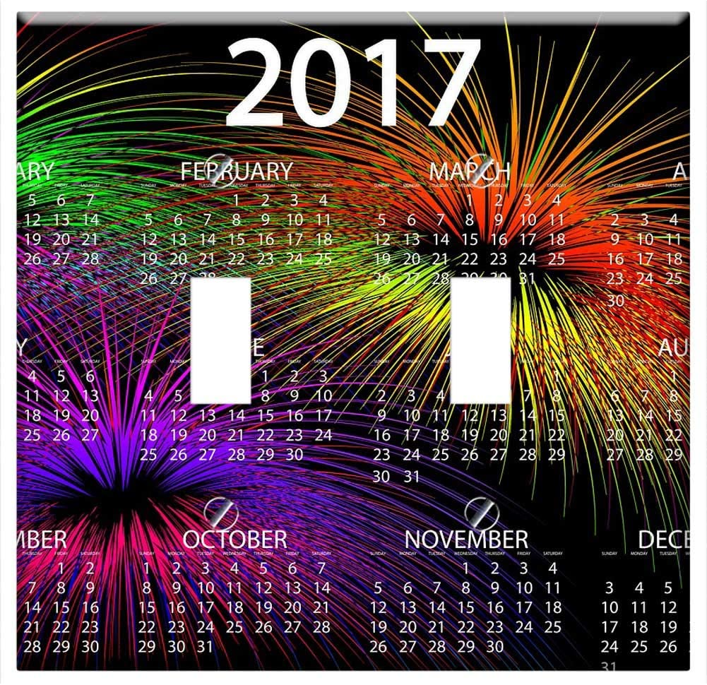 Switch Plate Double Toggle Agenda Calendar Fireworks New Year Day Home Improvement