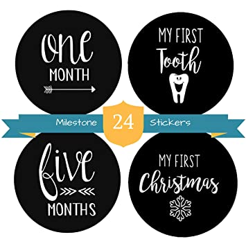 ddaeed87a Baby Milestone Stickers by The Hamptons Baby - 24 Pack of Monthly Belly  Milestones for Onesies