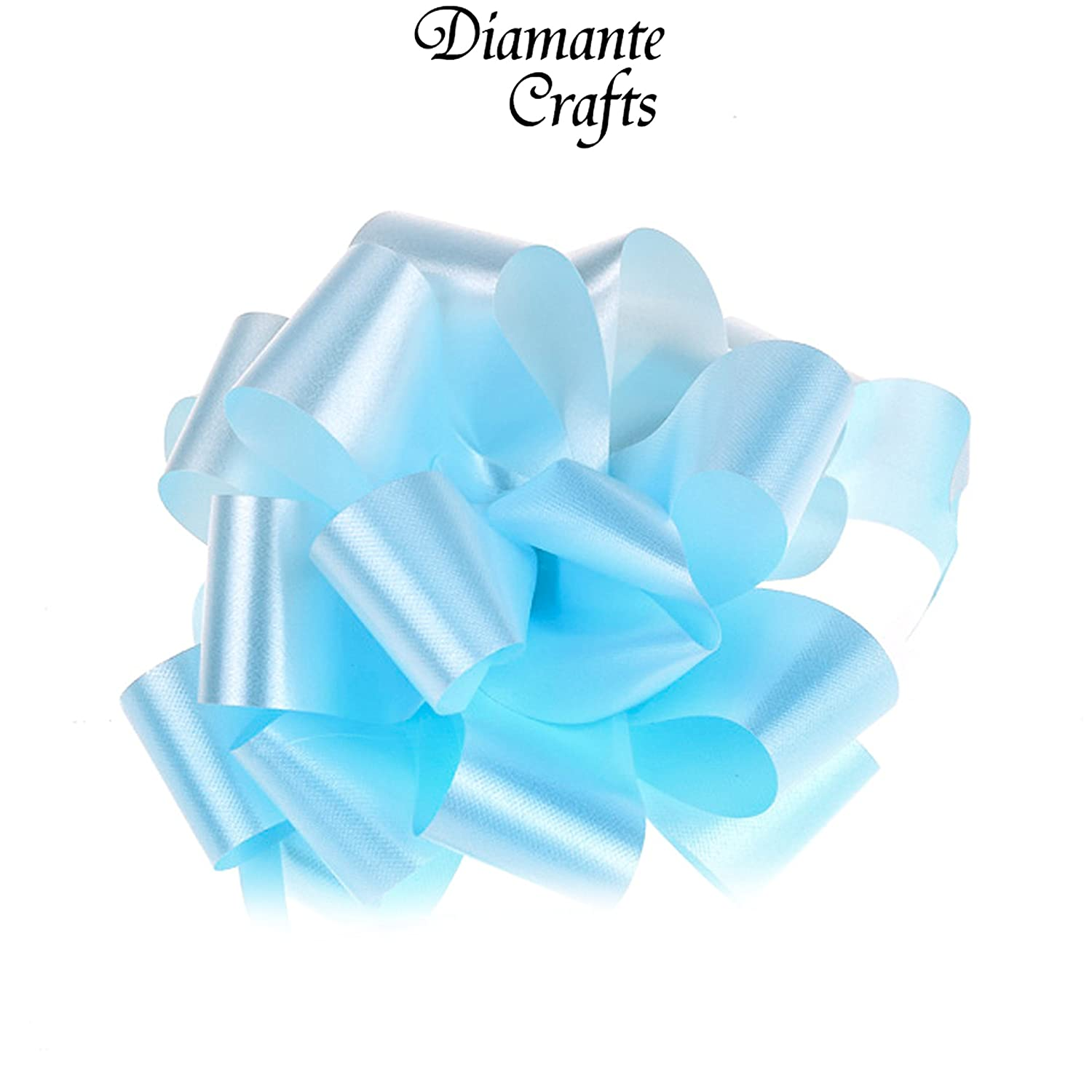 1 x 50mm Pull Bow 26 Colours Wedding Car Gift Wrap Decoration Floristry Large Baby Blue x 1 by Diamante Crafts