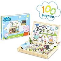 Peppa Pig Pizarra Infantil, Pizarra Magnetica Infantil y Puzzle Niños, Incluye Imanes Rotuladores y Tizas de Colores…