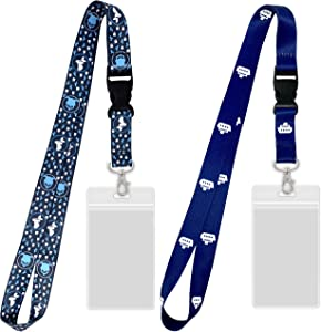 Cruise Lanyards with ID Holder [2 Pack] Mermaid & Cruise Ship Design for Ship Key Cards [Gray & Blue]