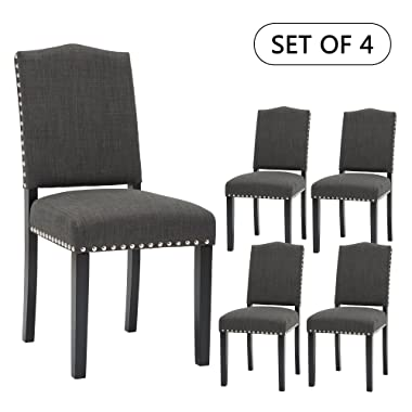 Set of 2 Mod Urban Style Solid Wood Nailhead Fabric Padded Parson Chair (Charcoal Grey Set of 4)