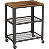 "VASAGLE 3-Tier Kitchen Serving Bar Cart on Wheels with Storage Industrial, 23.6"", Rustic Brown"