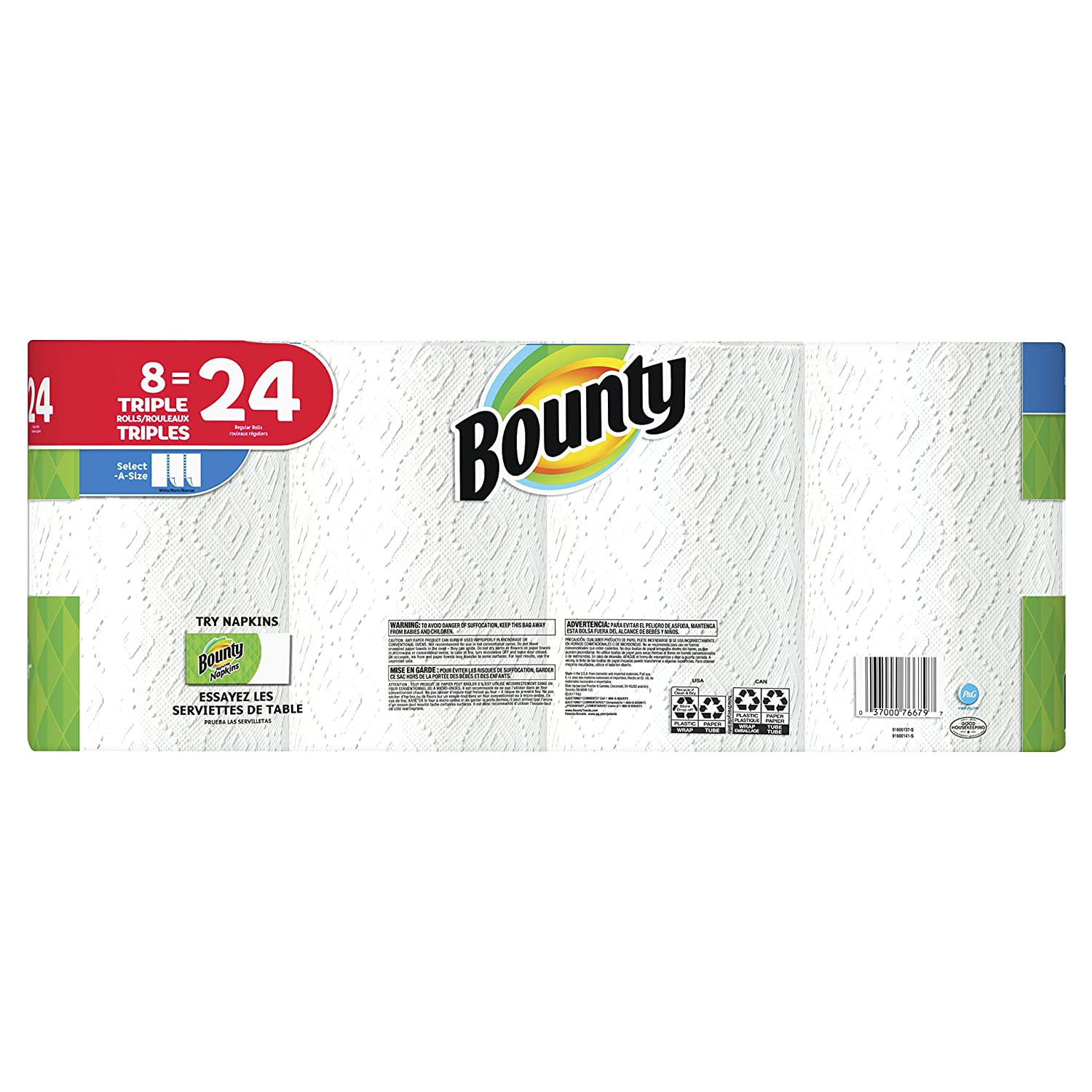 Amazon.com: Bounty Paper Towels, Select-A-Size, 8 Triple Rolls: Health & Personal Care