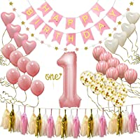Happy Birthday Banner, First Birthday Decorations for Girl 1st Baby Girl Number 1 Balloon One Cake Topper, Star Garland, Marble Pink, Gold Confetti, Heart balloons, Paper Tassels Party Hooman