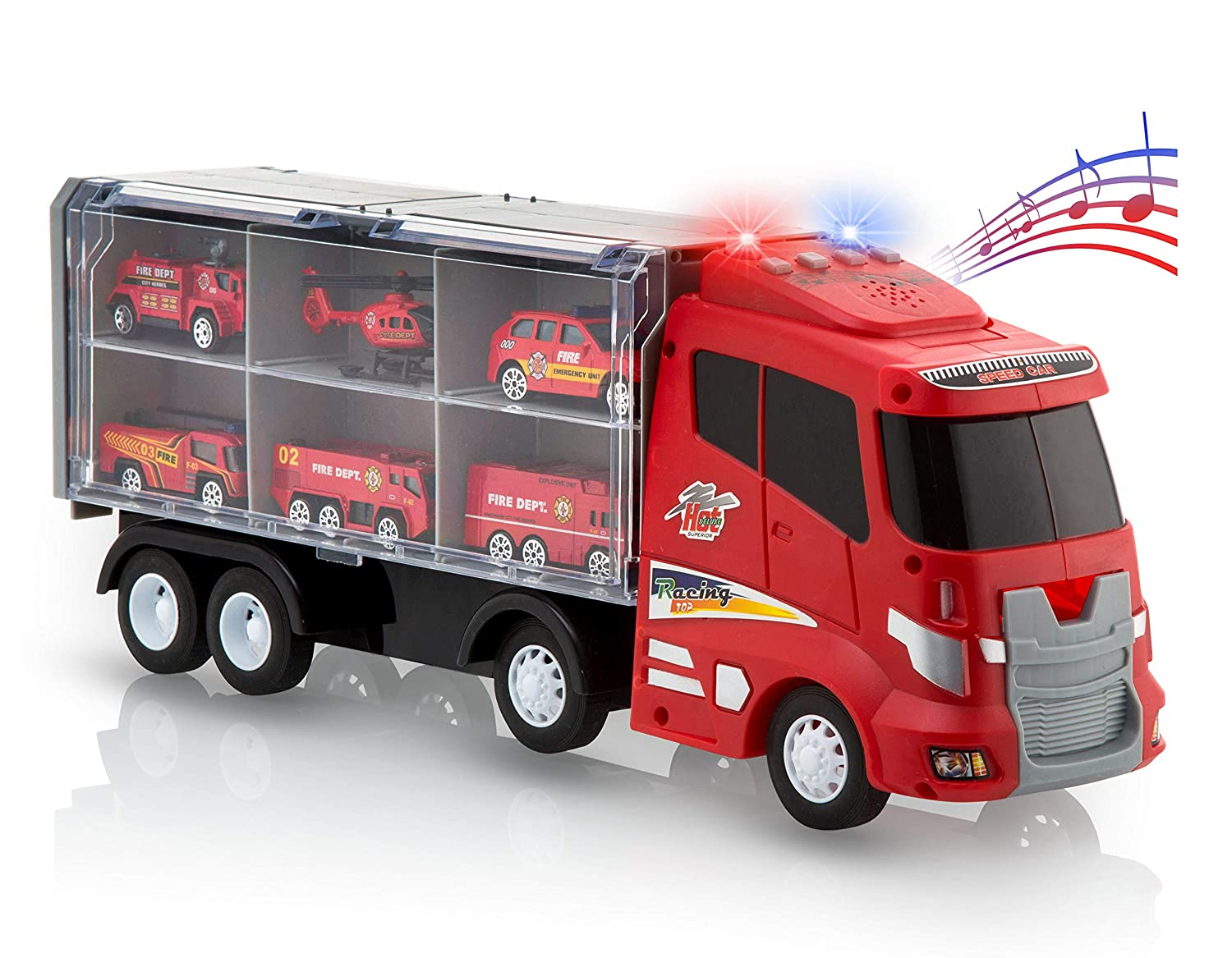 Advanced Play transport car carrier truck toys for boys and girls fire truck toy set includes 6 metal diecast play rescue vehicles and 12 slots with flashing lights sounds songs music for kids toddler