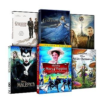 Pack Disney Imagen Real Cenicienta + Maléfica + Alicia En El País De Las Maravillas + Mary Poppins + Al Encuentro De Mr Banks + Tomorrowland DVD: Amazon.es: Cine y Series TV
