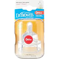 """Dr Brown's Level 1 Silicone Wide-Neck """"Options"""" Nipple, (Pack of 2)"""
