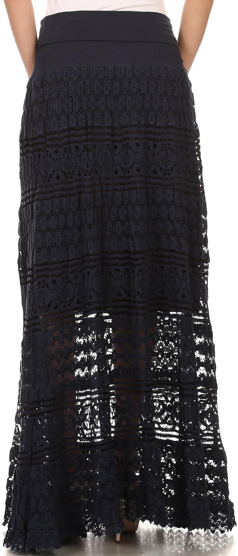 Sakkas Leo Long Tall Lined Embroidered Bohemian High Or Low Waist Foldover Skirt