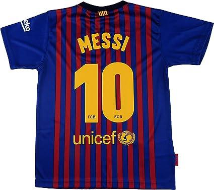 FC. Barcelona Camiseta Réplica Infantil Primera Equipación 2018/2019 - Dorsal Messi 10 - Producto Bajo Licencia (10 años): Amazon.es: Deportes y aire libre