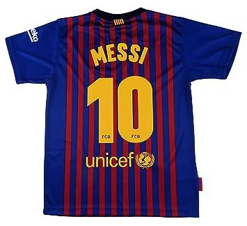 Barcelona Camiseta Réplica Infantil Primera Equipación 2018/2019 - Dorsal Messi 10 - Producto Bajo Licencia: Amazon.es: Deportes y aire libre