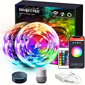 Daybetter 50ft Led Strip Lights with WiFi App Control for Home Decoration(2 Rolls of 25ft)