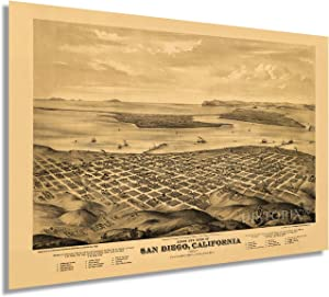 HISTORIX Vintage 1876 San Diego Map Poster - 24x36 Inch Vintage Map of San Diego California - Old San Diego Wall Decor Art - Birds Eye View of San Diego Wall Map Showing Points of Interest (2 Sizes)