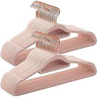 SONGMICS Cintres en Velours, Lot de 50, Antidérapants, avec Crochets Rose Gold Pivotants, 0,6 cm d'Épaisseur, 45 cm de Longueur pour Manteaux, Robes, Pantalons, Cravates, Rose CRF21PK50