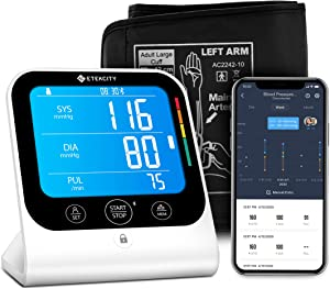 Blood Pressure Monitor, Etekcity Automatic Upper Arm Cuff for Home Use, Bluetooth BP Machine, with Large Vertical Display, Unlimited Memories and Sharing in APP