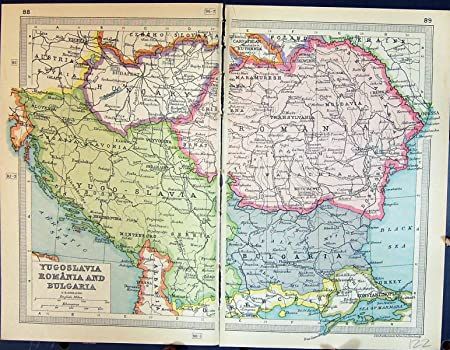 Carte Roumanie Bulgarie.Carte Antique Yougoslavie Roumanie Bulgarie La Transylvanie