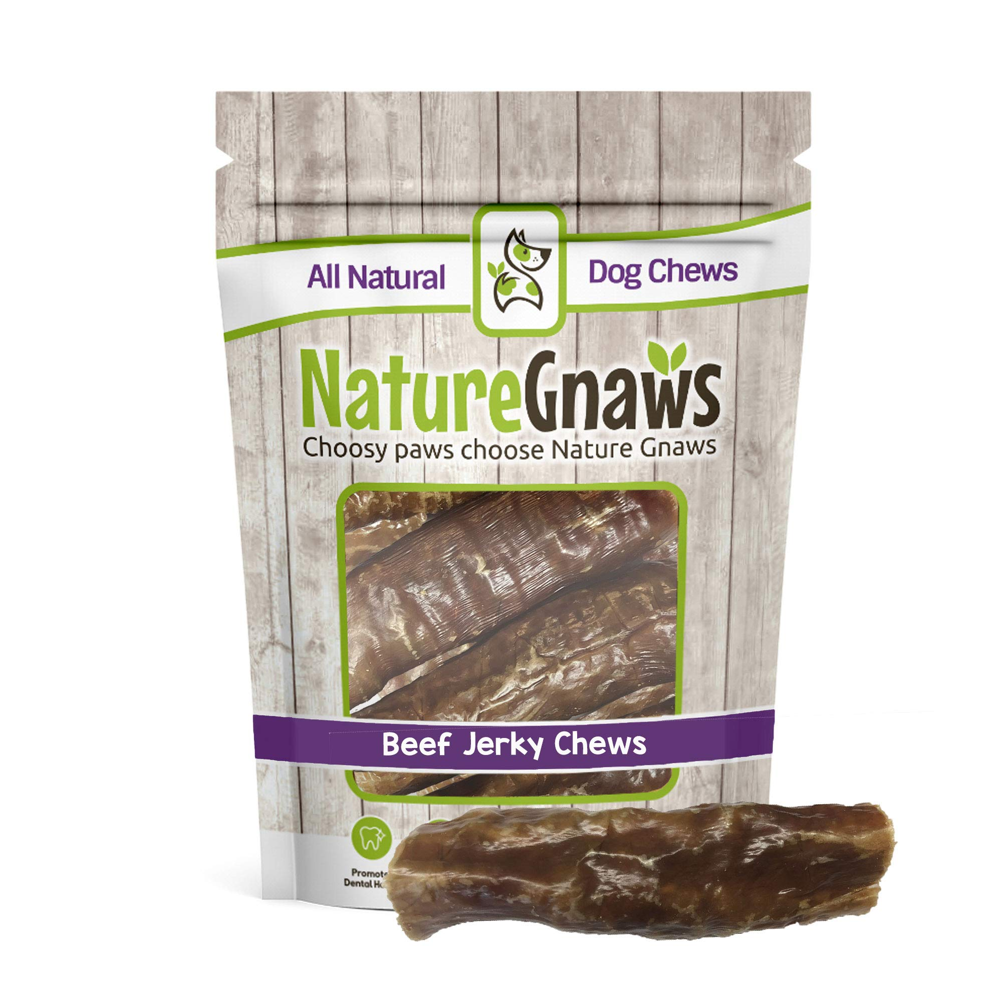 Nature Gnaws Beef Trachea Jerky Wrap 5-6'' (5 Pack) - 100% All Natural Grass Fed Premium Beef Dog Chews