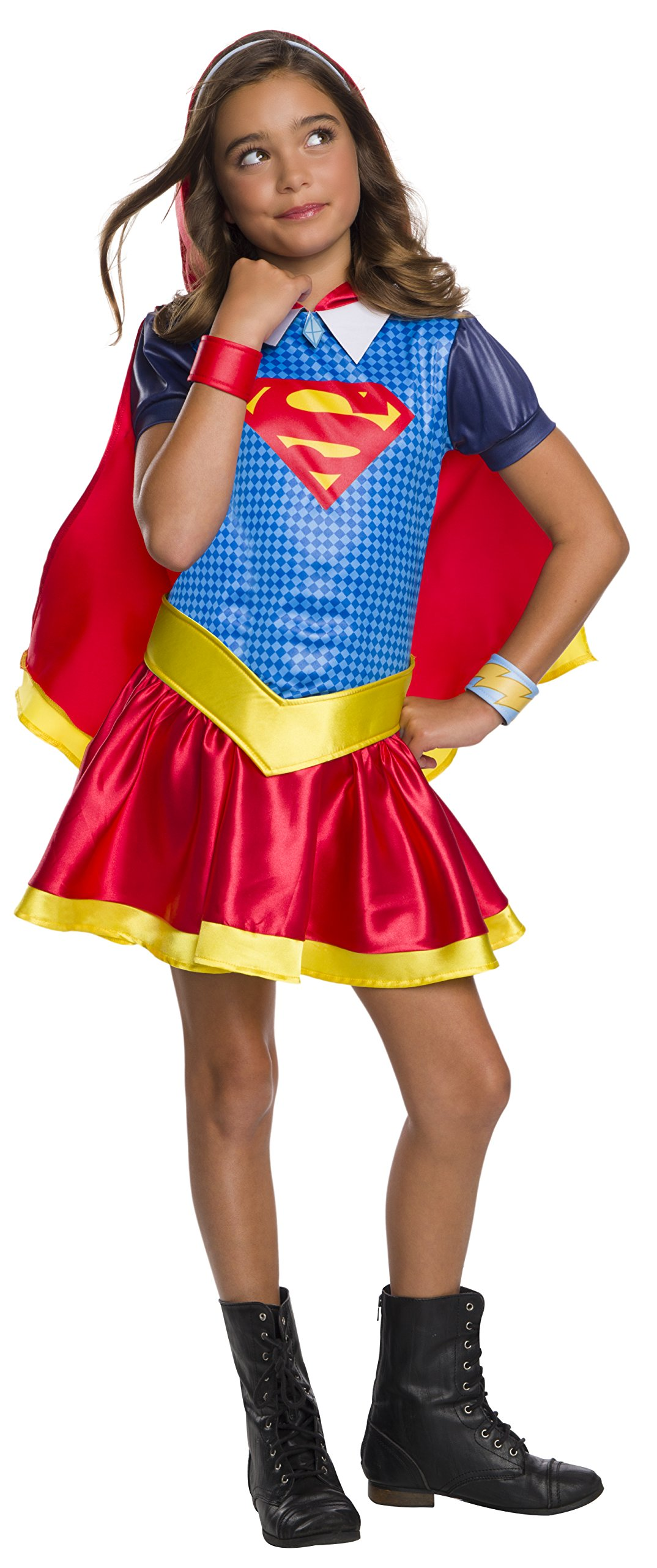 - 81G0HgX 2BgTL - Rubie's DC Super Hero Girls Hoodie Dress Childrens Costume, Supergirl, Small